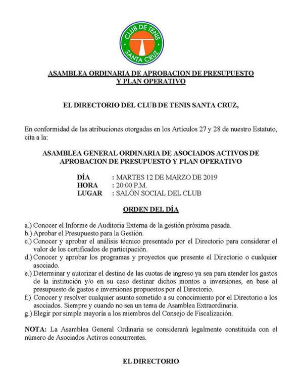 ASAMBLEA ORDINARIA DE APROBACION DE PRESUPUESTO Y PLAN OPERATIVO