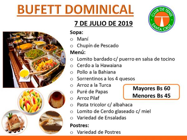 BUFFET DOMINICAL EN EL SNACK DEL CLUB