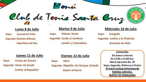 MENÚ SEMANAL DEL 8 al 12 DE JULIO